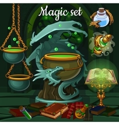 Magic set of tools for witchcraft and spells vector