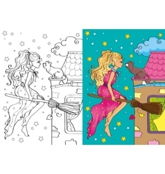 Coloring book of pretty witch flying on broomstick vector