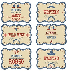 Cowboy labels isolated on white western cowboy vector image