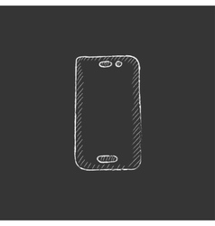 Mobile phone drawn in chalk icon vector
