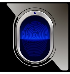 Black fingerprint scanner vector