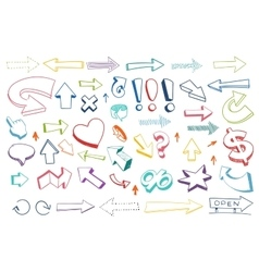 Arrows drawing set vector