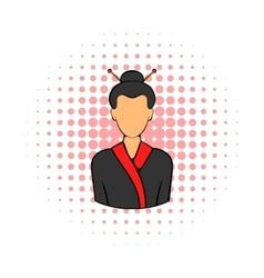 Geisha icon in comics style vector image