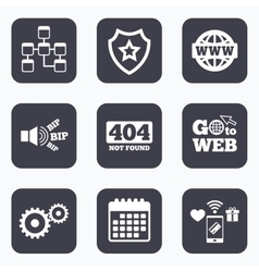 Website database icon internet globe and repair vector