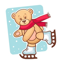 Teddy bear skating vector
