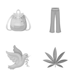 a cannabis leaf a dove jeans a backpackhippy vector image vector image