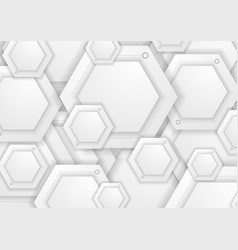 Abstract grey paper hexagons tech background vector