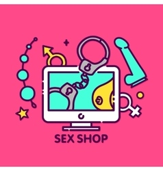 Adult toys sex shop online web vector
