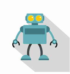 Blue robot icon flat style vector