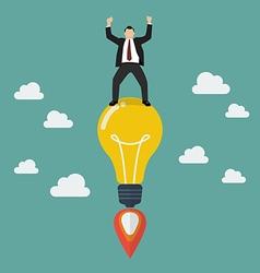 Businessman on a lightbulb idea rocket vector