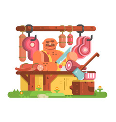 butcher man cuts meat vector image