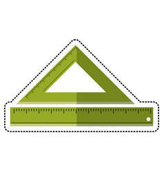 Cartoon triangle ruler measuring school vector