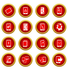Device repair symbols icon red circle set vector