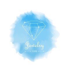 Diamonds shapes on blue watercolor background vector image
