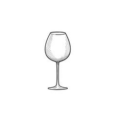 empty wine glass engraving of wineglass glassware vector image vector image