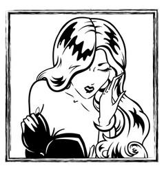 Erotic pin-up girl portrait vector