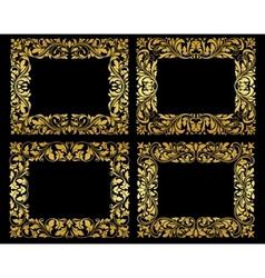Golden floral frames on black background vector image