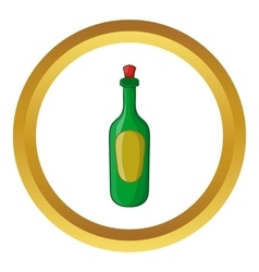 Green bottle of wine icon vector