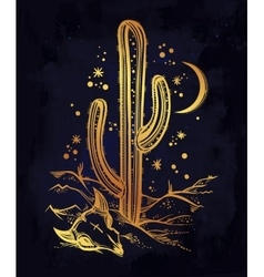 Hand drawn romantic beautiful desert landscape vector