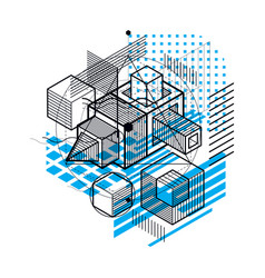 Isometric abstract background with linear vector