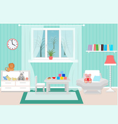 Living room interior including armchair coffee vector