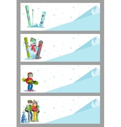 Mountain skier winter sport flyer design template vector image
