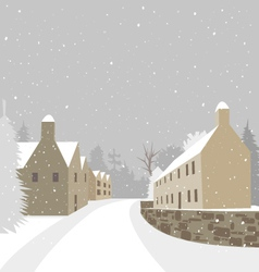 Mountain village winter houses vector