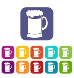 Mug of dark beer icons set vector