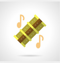 Musical reed pipes flat color icon vector
