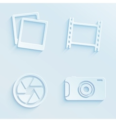 Paper style photography icons vector image