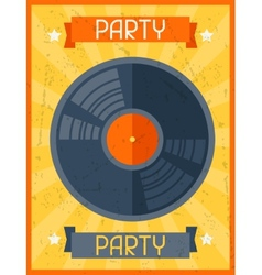 Party retro poster in flat design style vector image