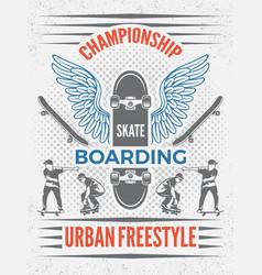 poster in retro style for skateboarding vector image