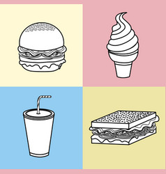 Set fast food with soda and ice cream vector
