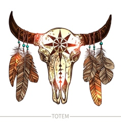 Sketch buffalo skull with feathers vector