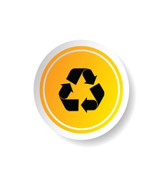 sticker in yellow color with recycle icon vector image vector image