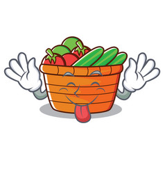 tongue out fruit basket character cartoon vector image vector image