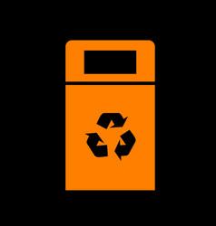 Trashcan sign orange icon on black vector