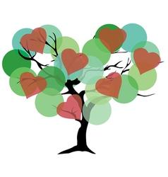 Tree color green hearts vector