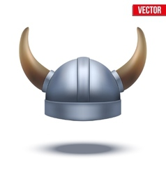 Viking helmet with horns isolated vector image