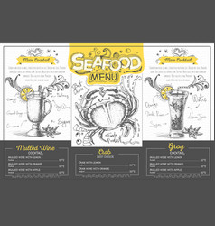 Vintage seafood menu design restaurant menu vector