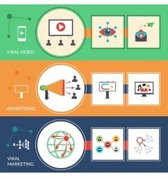 Viral marketing strategy flat banners set vector