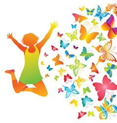 Young girl with butterflies vector