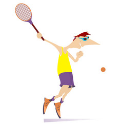 young man playing tennis isolated vector image vector image