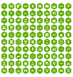 100 working hours icons hexagon green vector