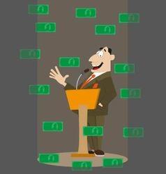 money falling on businessman vector image