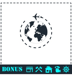 Around world icon flat vector
