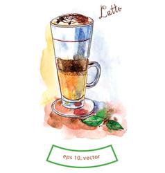 Glass of latte vector