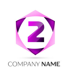 number two symbol in colorful hexagonal vector image