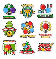 table tennis colorful logo labels collection on vector image
