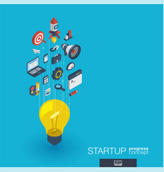 startup integrated 3d web icons growth and vector image